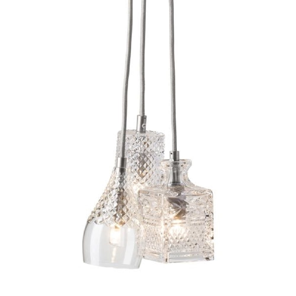 Cascade Of Mixed Crystal Glass Ceiling Pendant Light On