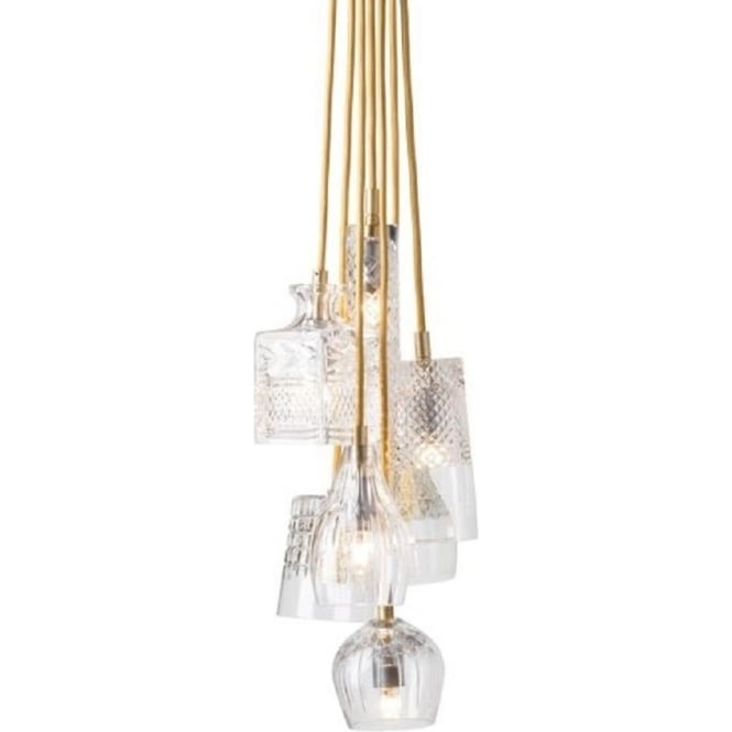Ceiling Pendant Cluster Light With 7 Cut Crystal Glass Shades