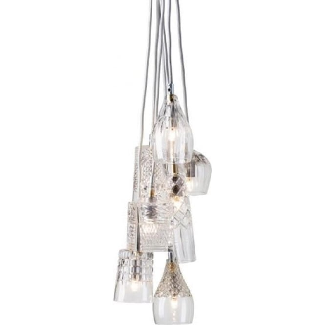 Crystal Cascade Of 7 Cut Glass Ceiling Pendant Lights With
