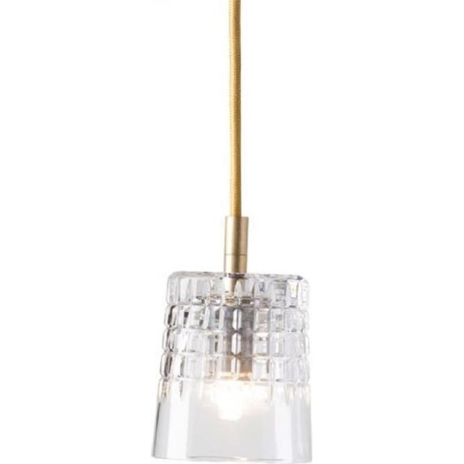 Long Drop Lead Crystal Pendant Light Shade On Long Gold Cable