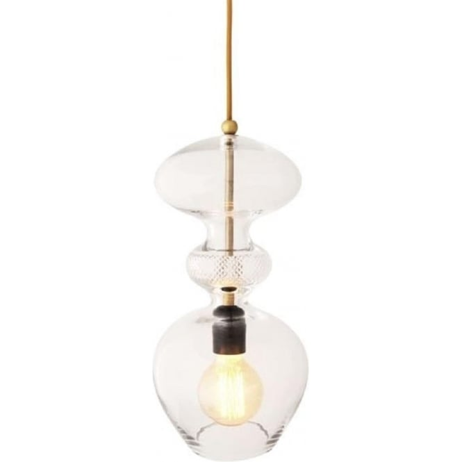 Copenhagen Glass Collection FUTURA crystal glass ceiling pendant light with facet cut detailing on gold cable - large