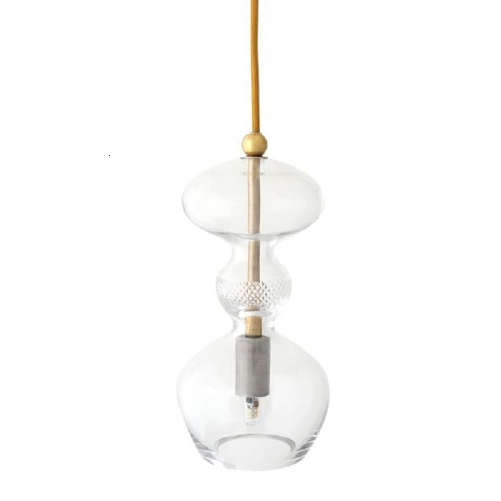 Small Clear Glass Ceiling Pendant Light With Cut Glass