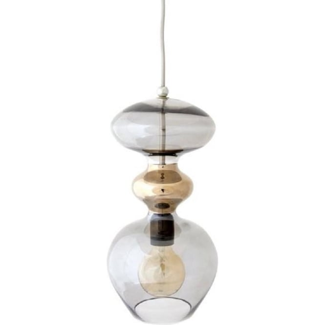 Copenhagen Glass Collection FUTURA transparent smoky grey glass ceiling pendant light - large