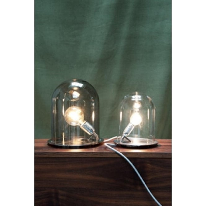 Unusual table lamp with bulb in clear dome shaped glass shade glow in a dome clear glass table lamp small aloadofball Choice Image
