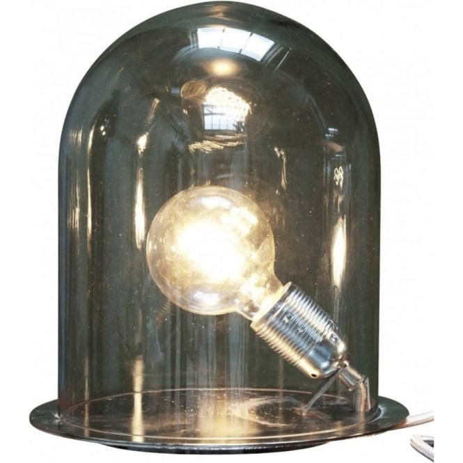 GLOW In A DOME Smoky Grey Glass Table Lamp Medium