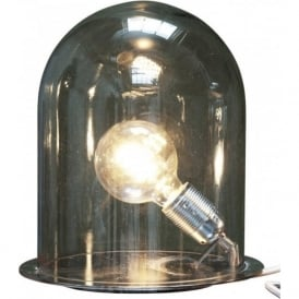 GLOW in a DOME smoky grey glass table lamp (medium)