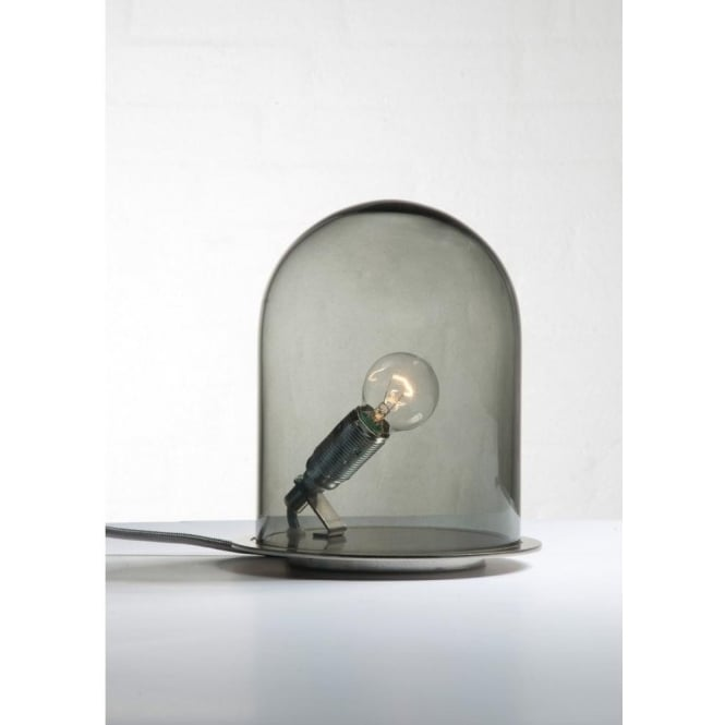 GLOW In A DOME Smoky Grey Glass Table Lamp (small)