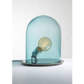 GLOW in a DOME transparent blue glass table lamp (medium)