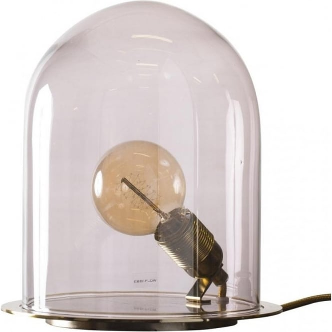 Purple Glass Cloche Table Lamp With Utility Bulb On Brass Base