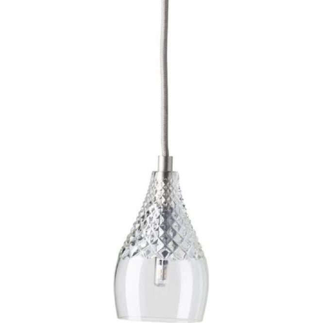 Crystal Glass Ceiling Pendant Light Hanging On Silver Suspension