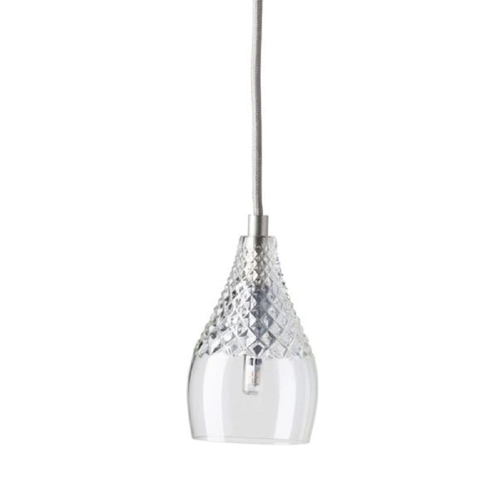 Crystal Glass Ceiling Pendant Light Hanging On Silver