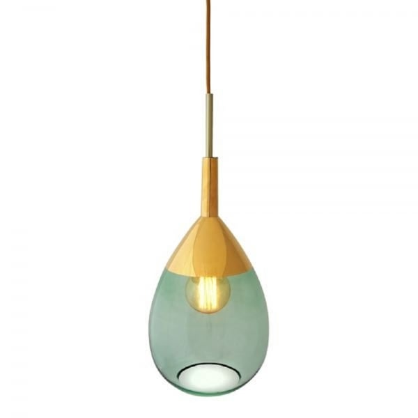 Long Drop Green Glass Ceiling Pendant Light With Gold