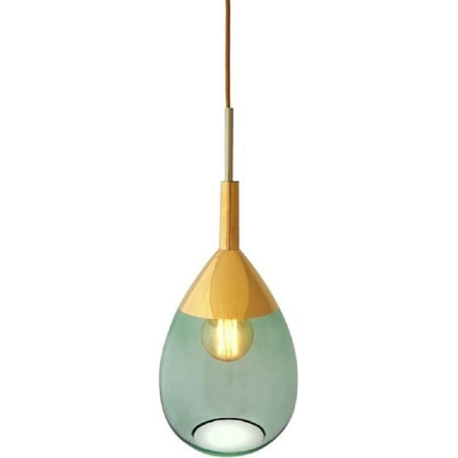 Long drop green glass ceiling pendant light with gold metallic detail lute transparent green glass ceiling pendant light with metallic gold detail aloadofball Image collections