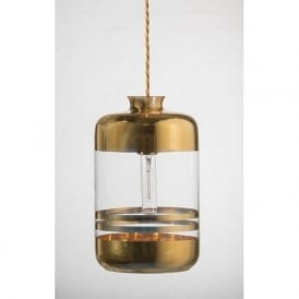 PILLAR BOTTLE ceiling pendant light, clear glass with gold metallic stripes