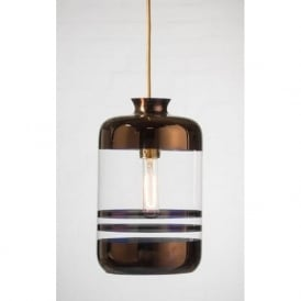 PILLAR BOTTLE ceiling pendant light, clear glass with metallic copper stripes