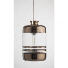PILLAR BOTTLE ceiling pendant light, clear glass with platinum metallic stripes