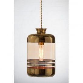 PILLAR BOTTLE ceiling pendant light, pale gold glass with metallic stripes