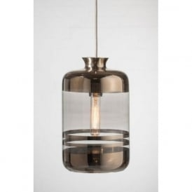 PILLAR BOTTLE ceiling pendant light, pale platinum glass with metallic stripes