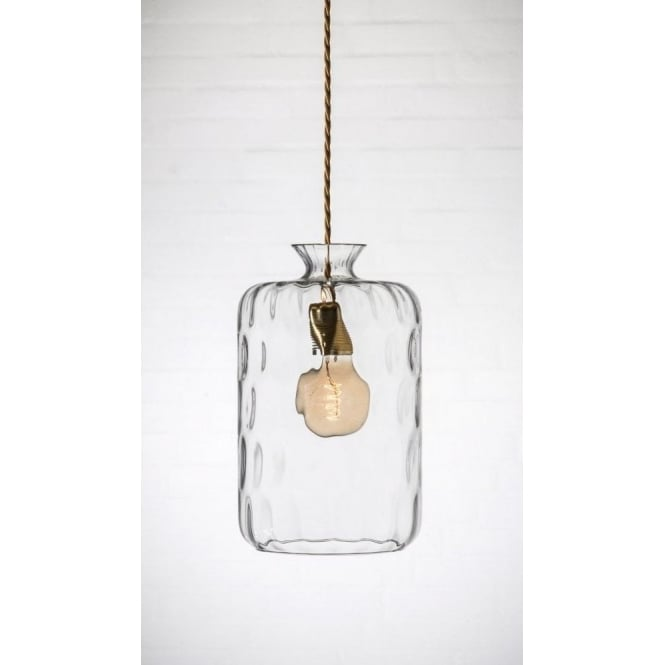 Copenhagen Glass Collection PILLAR BOTTLE hanging ceiling pendant with clear dimpled glass
