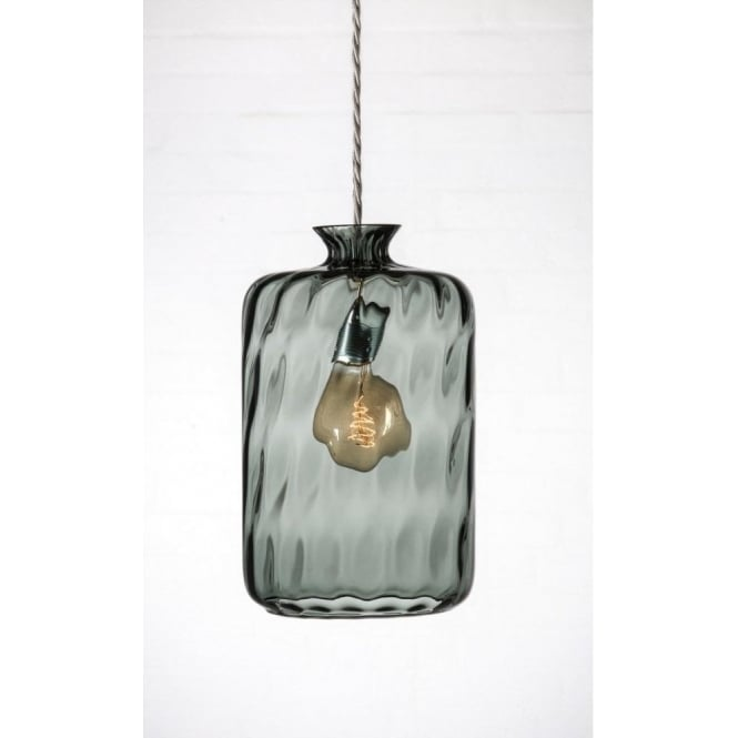 Glass Jar Ceiling Pendant Light In Grey Dimpled Glass