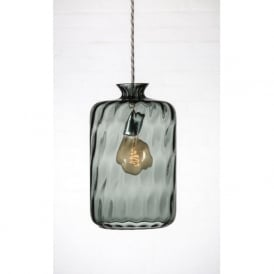 PILLAR BOTTLE hanging ceiling pendant with grey dimpled glass