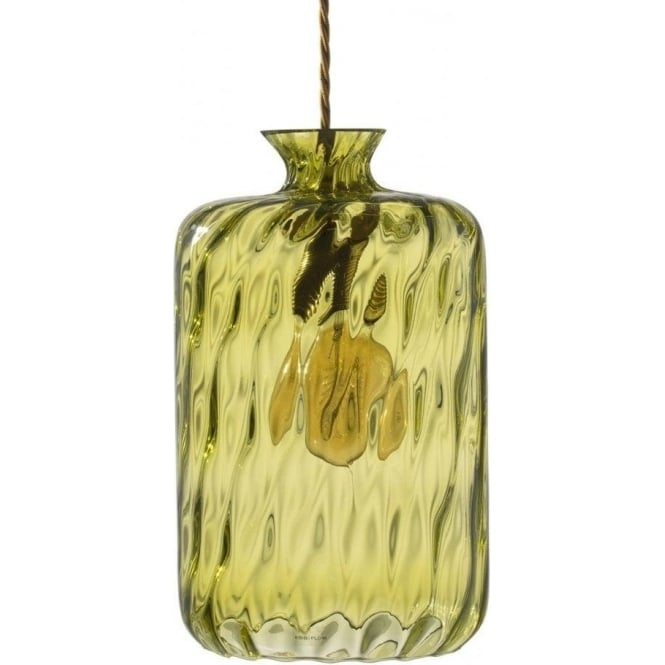Copenhagen Glass Collection PILLAR BOTTLE hanging ceiling pendant with olive dimpled glass