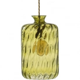 PILLAR BOTTLE hanging ceiling pendant with olive dimpled glass