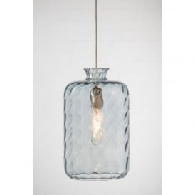 PILLAR BOTTLE hanging ceiling pendant with pale blue dimpled glass