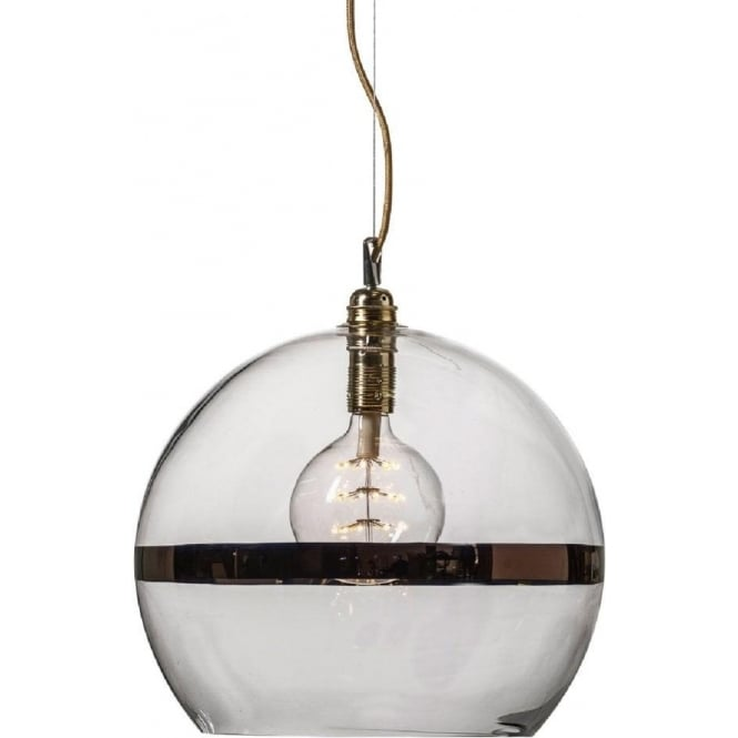 large glass globe ceiling pendant light with copper stripe