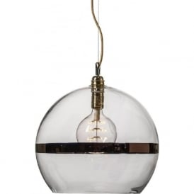 ROWAN clear glass ceiling pendant light with copper stripe (large)