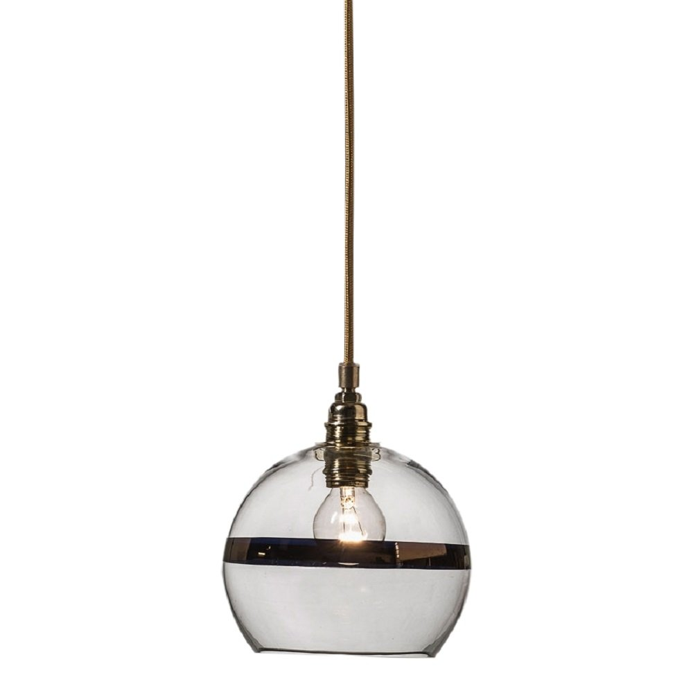 Clear glass ceiling pendant light with copper stripe mini - Clear glass ceiling light ...