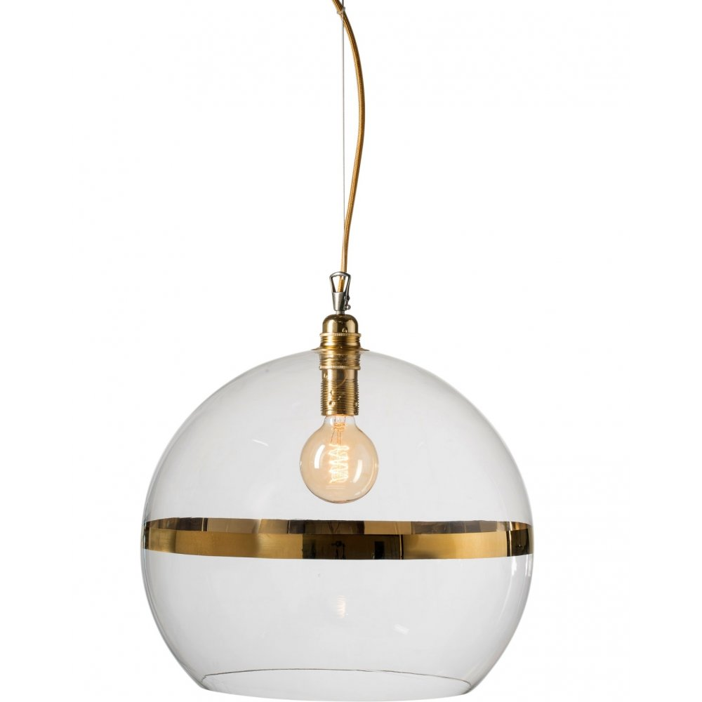 Large Glass Globe Hanging Ceiling Pendant Light With Gold