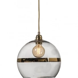 ROWAN clear glass ceiling pendant light with gold stripe (medium)