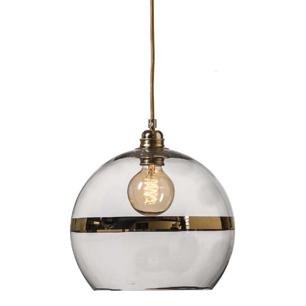 Clear blown glass long drop ceiling pendant on gold cable - Clear glass ceiling light ...