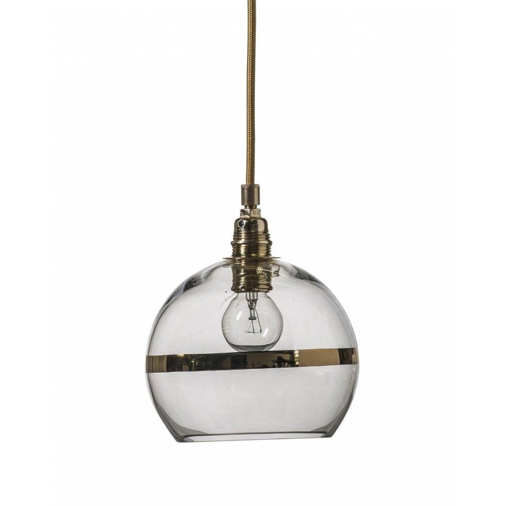 Glass Globe Pendant Light Nz Large Uk Clear Fixtures: Clear Glass Globe Pendant Light With Gold Metallic Stripe