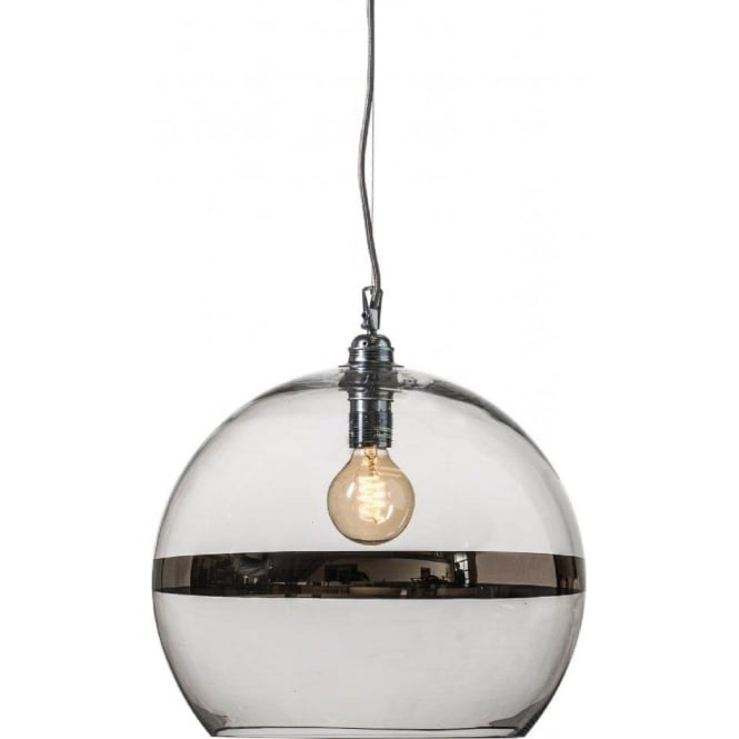 Copenhagen Glass Collection ROWAN clear glass ceiling pendant light with platinum stripe (large)