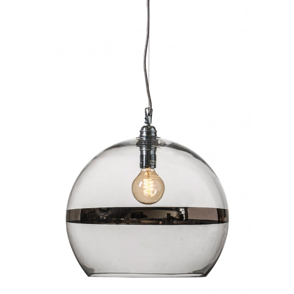 Large clear glass ceiling pendant with metallic platinum - Clear glass ceiling light ...