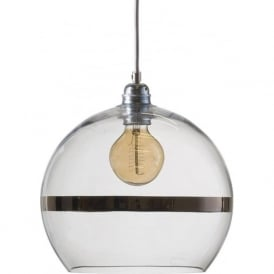 ROWAN clear glass ceiling pendant light with platinum stripe (medium)