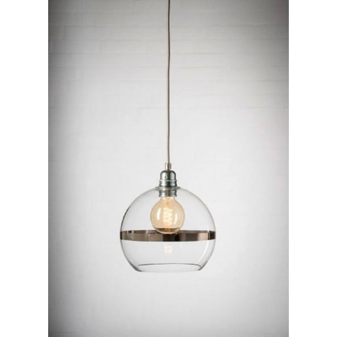 Copenhagen Glass Collection ROWAN clear glass ceiling pendant light with platinum stripe (mini)