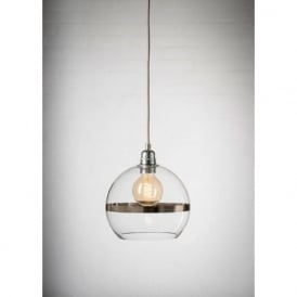 ROWAN clear glass ceiling pendant light with platinum stripe (mini)