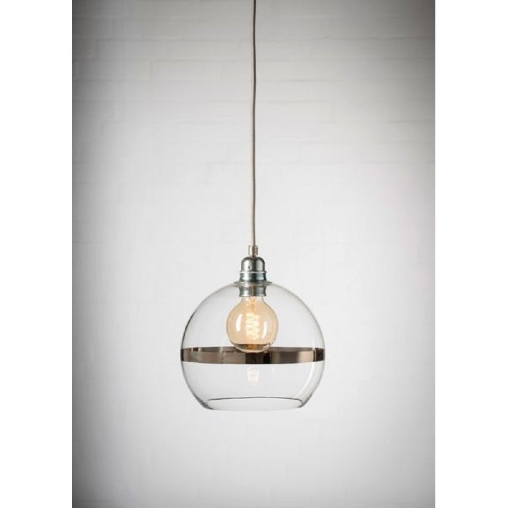 Mini clear glass ceiling pendant shade with platinum stripe - Clear glass ceiling light ...