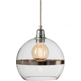ROWAN clear glass ceiling pendant light with platinum stripe (small)