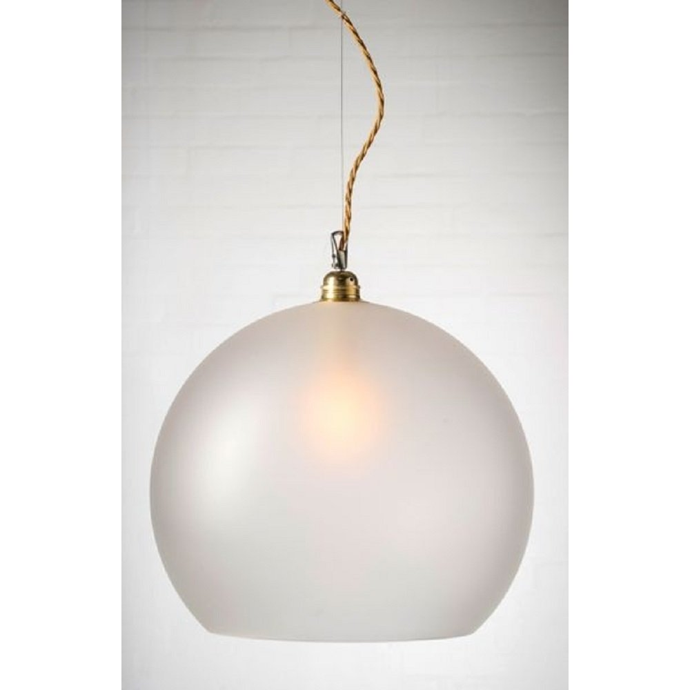 Large Frosted Glass Globe Ceiling Pendant Light Long Drop