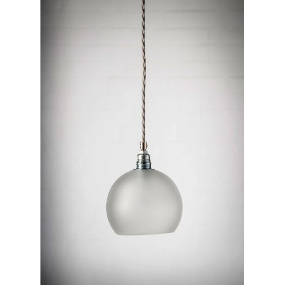 Pendant Light Cable: Mini Frosted Glass Globe Ceiling Pendant Light Hanging On