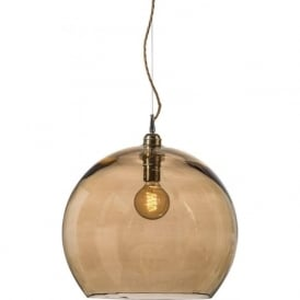 ROWAN golden smoked glass ceiling pendant light (large)
