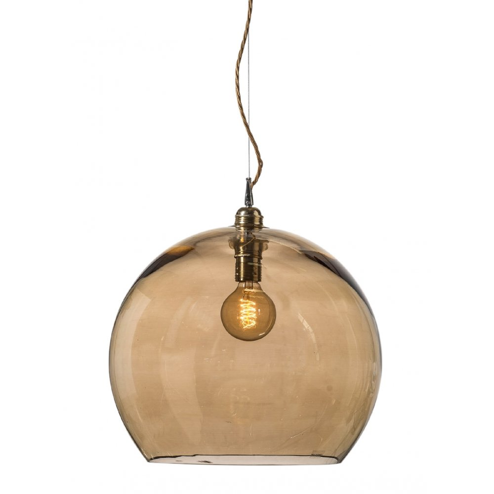 Gold Smoked Glass Globe Ceiling Pendant Light Fitting With