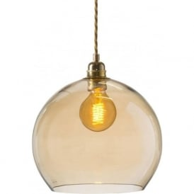 ROWAN golden smoked glass ceiling pendant light (medium)