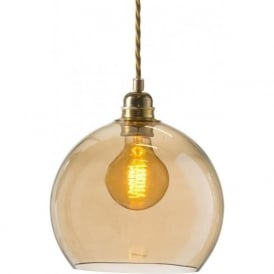 ROWAN golden smoked glass ceiling pendant light (small)