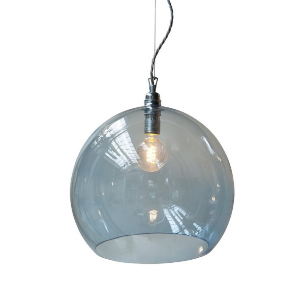 Transparent Blue Glass Globe Pendant Light On Long Drop