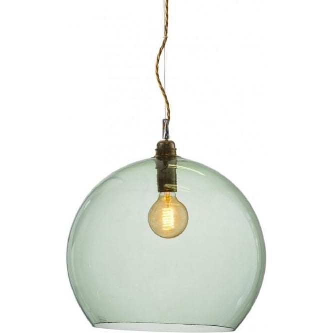 Hand Blown Glass Globe Ceiling Pendant In Forest Green